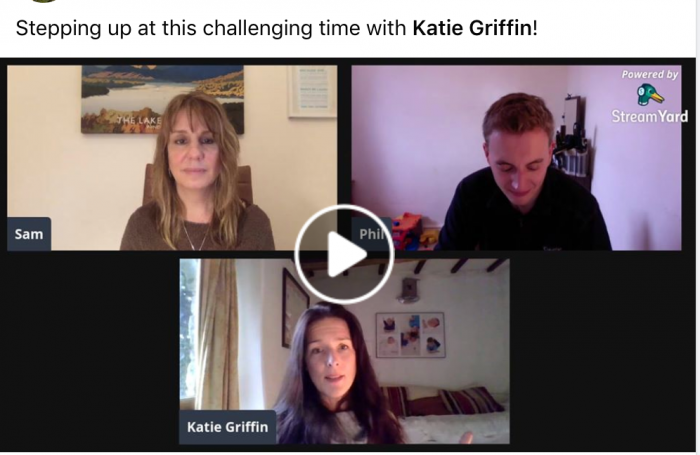 Sam and Phil on a Zoom call with Katie Griffin